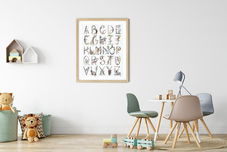 FoxAndCrowco - Affiche alphabet animal - 25 €