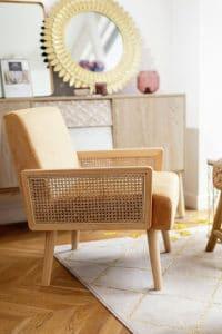 ARCHI Fauteuil Cannage + Finition nid d'abeille - Velours Jaune 139,99€