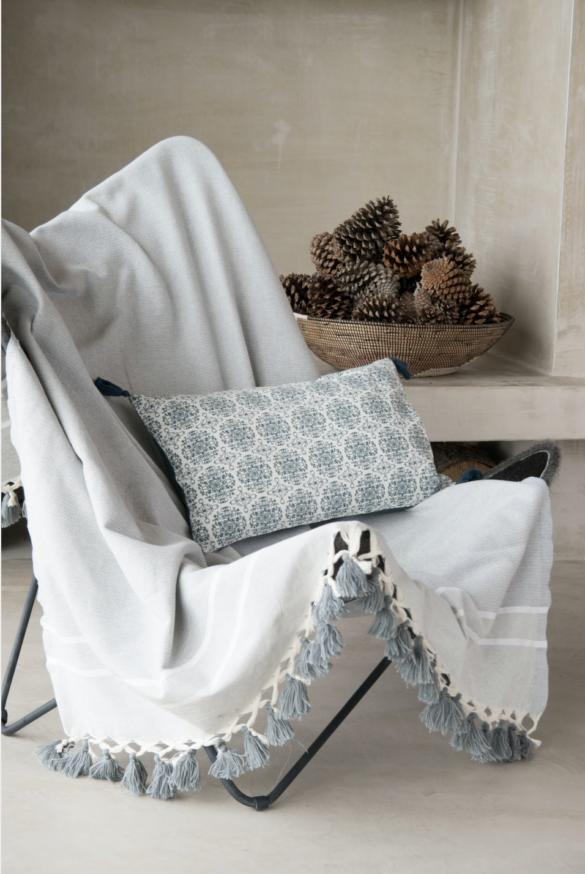 STOCKHOLM - Plaid en coton Gris perle 130x170 - 38€ - Maisons du Monde -