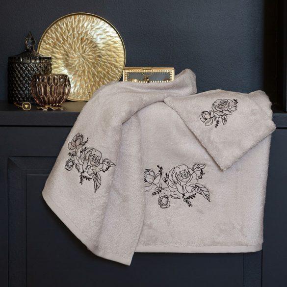 Drap de bain en coton et viscose de bambou broderie rose - 24,50€ - Carré Blanc -