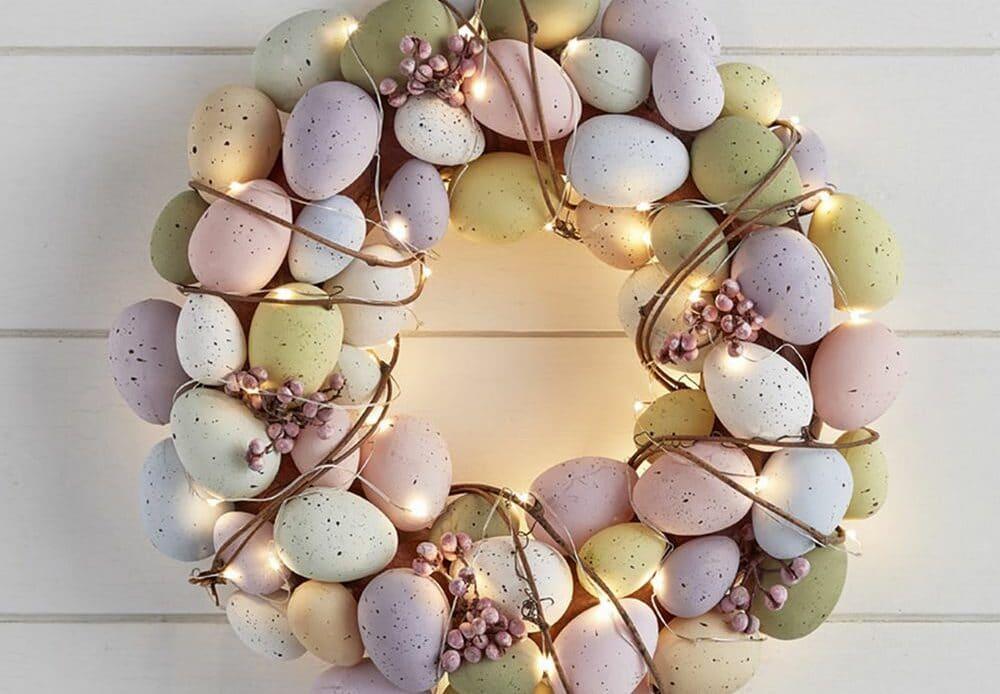couronne de Pâques œufs