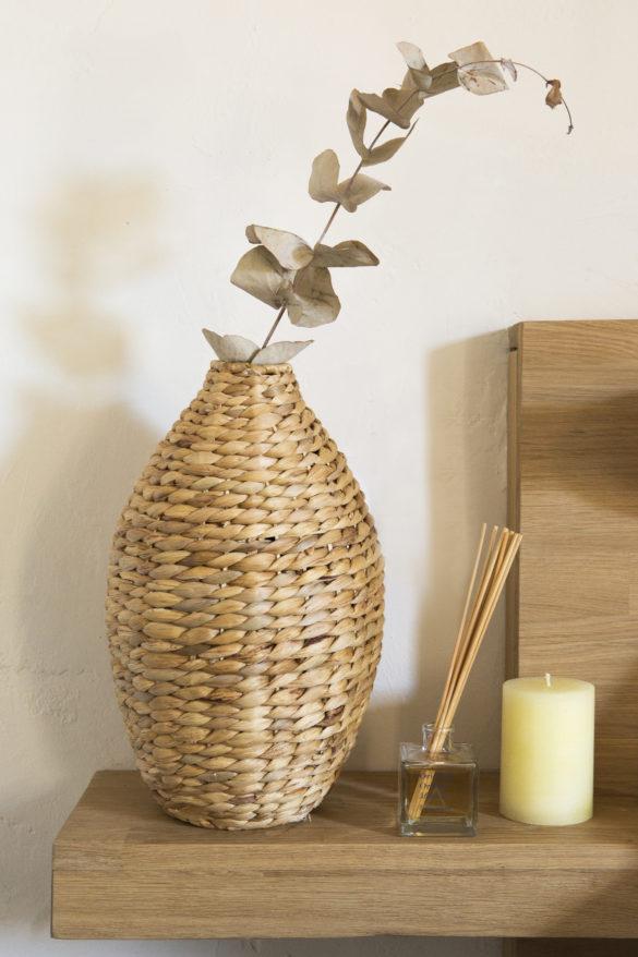 Vase fibres naturelles 20x35cm - Diffuseur 100ml 13,99€ - Bougie-10cm-4,99€